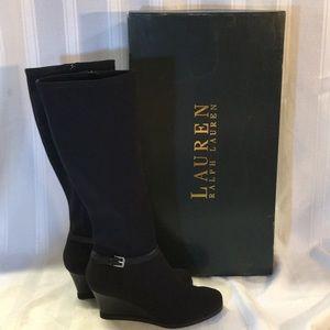 NEW! Ralph Lauren Tula knee high black boots